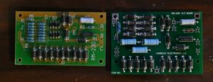 The RM-221 rectifier metering board's 2010 design by Harbach (left) is updated for 2016 with much larger components and a larger board (right).